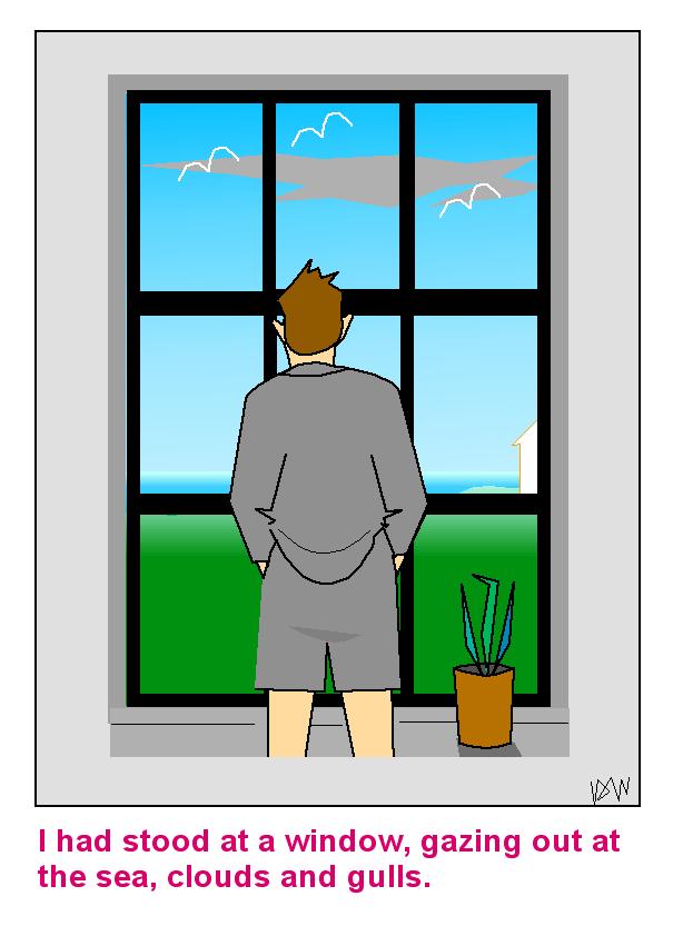Man staring through window