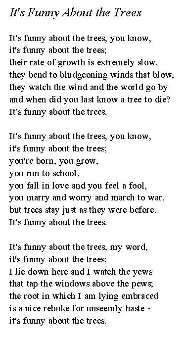 Its Funny About the Trees poem
